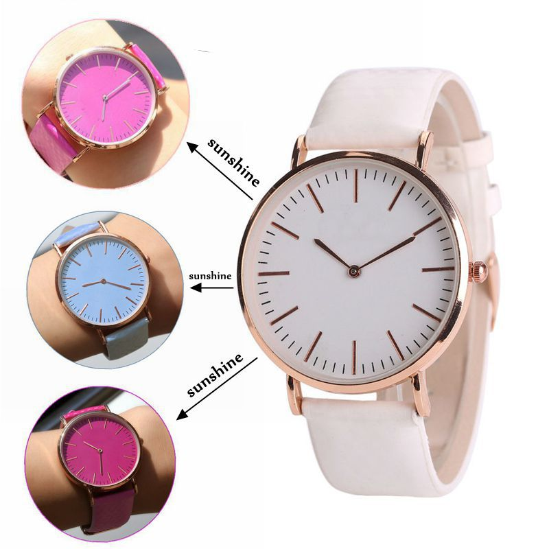 Fashion style japan movt temperature sunshine color changing strap quartz watch LLW059