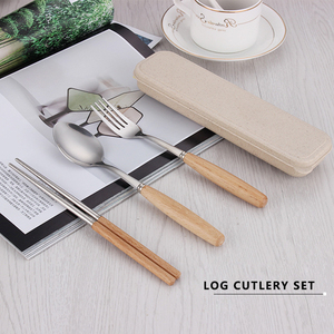 wooden handle flatware for babies fork knife spoons