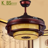 new Chinese style 30W LED invisible bifocal remote Wooden sheepskin ceiling fans lights