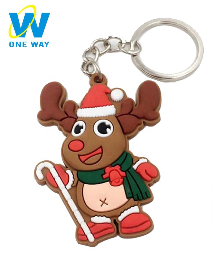 Wholesale personalized gifts mini deer Santa Claus tree christmas keychain / key ring