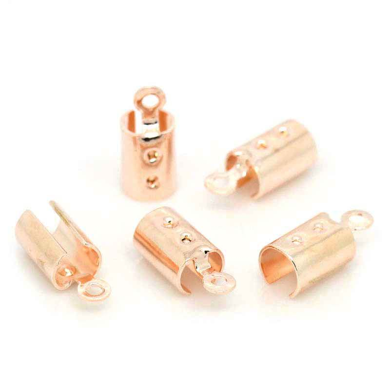 "Copper Necklace/Cord Crimp End Caps W/Loop Rose Gold(Fits 4mm Cord) 12mm x 5mm( 4/8""x 2/8""),100PCs,Customize"