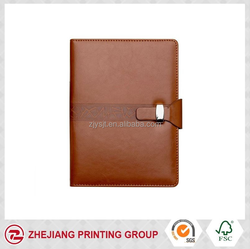 2017 vintage A5 size leather cover agenda with metal clasp