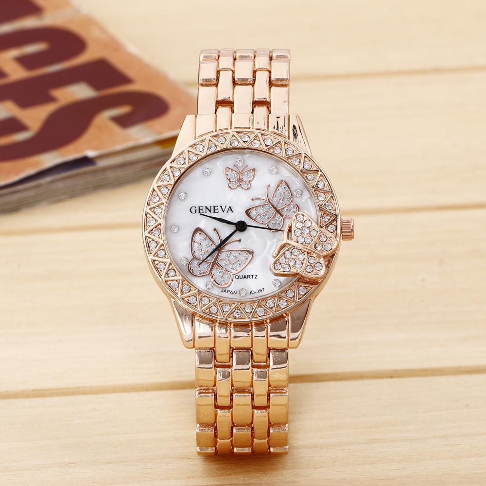 cdc6bc32645 8412 Geneva Quartz Stainless Steel Watch Rhinestone Bezel Butterfly Crystal  Female Clock lady wrist watch Women