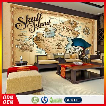 Vintage Kartun Bajak Laut Tengkorak Wallpaper Dinding Mural Dengan Peta Untuk Ruang Tamu