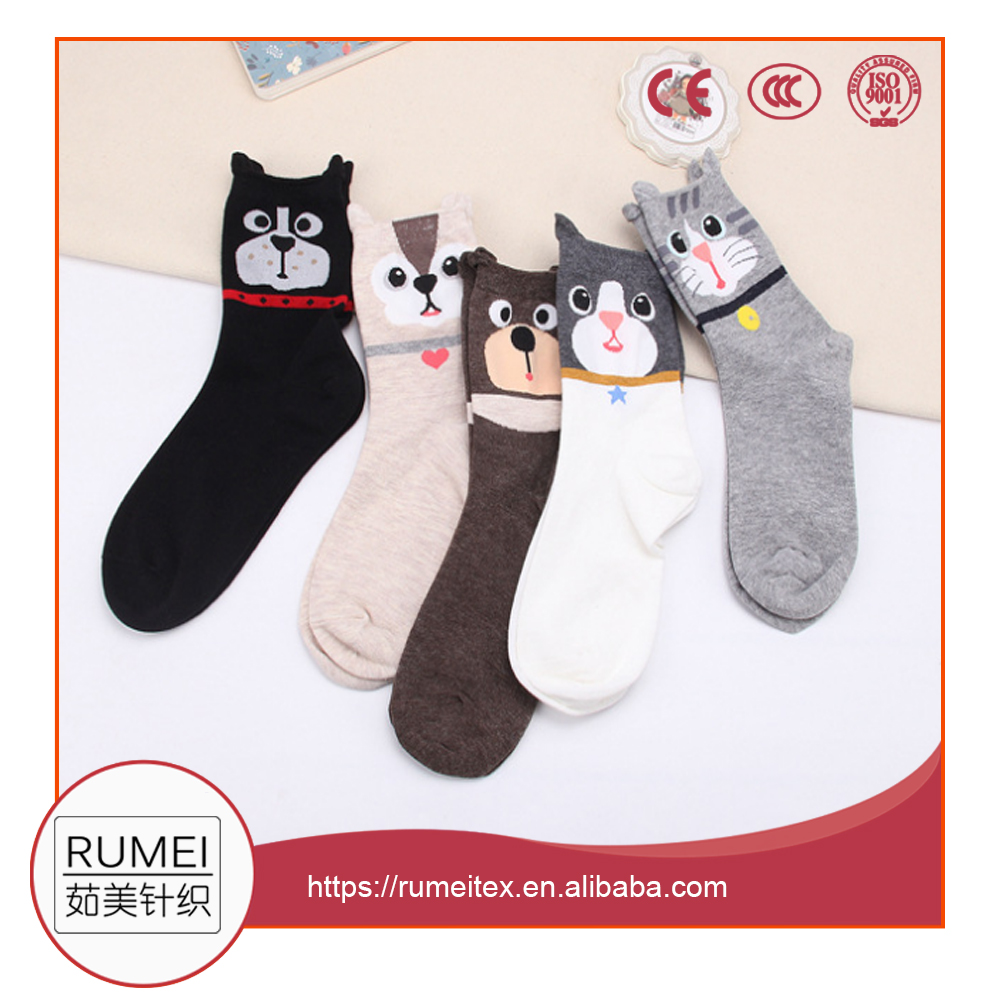 Lovely 3D Cat socks wholesale new design girl tube socks cute cotton kid socks