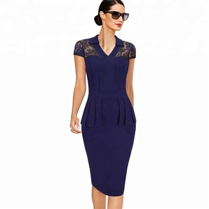 a3ff88cefcc89 Fashion Women Elegant Lace Peplum Bodycon Pencil Office Business Dress