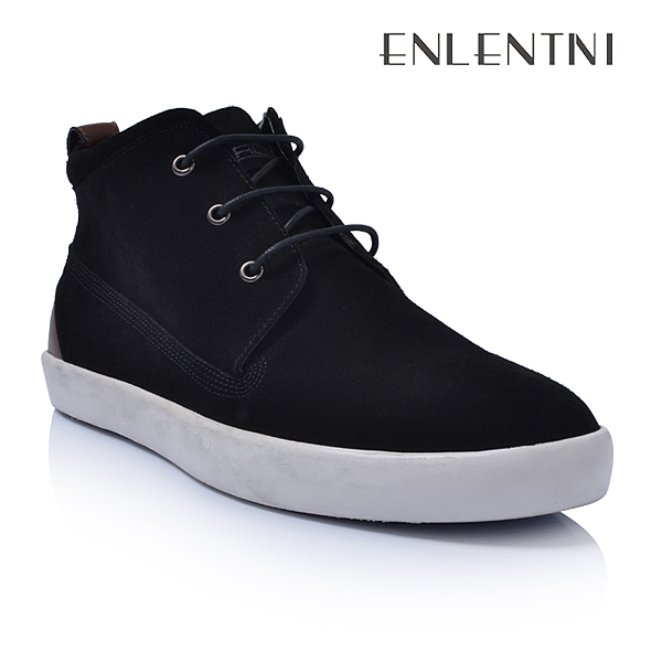 Popular neck shoes casual black men men high for boots suede cutting leather rqBrwAIn7x