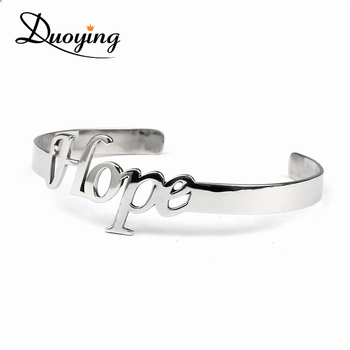 Make Your Own Bracelet Unique Handmade Custom Jewelry China Fantastic Letter Hope Cheap Engraved Cuff Open Logo Bracelet