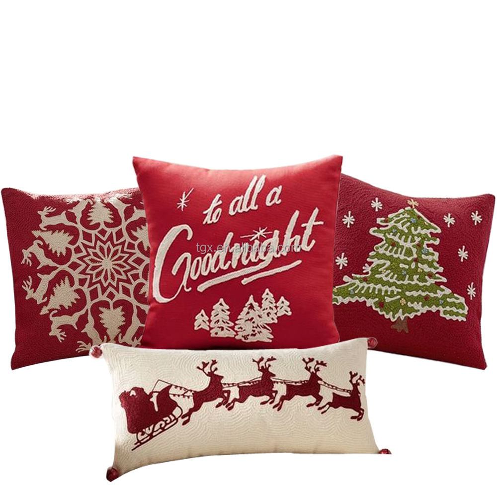 Wholesale Custom Christmas High Quality Embroidered Cushion Covers