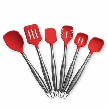 6 Piece Stainless Steel Silicone Kitchen Utensil Sets Ladle / Turner /  Spoon / Slotted Spoon / Spageti Server - Buy Stainless Steel Cooking  Utensils ...