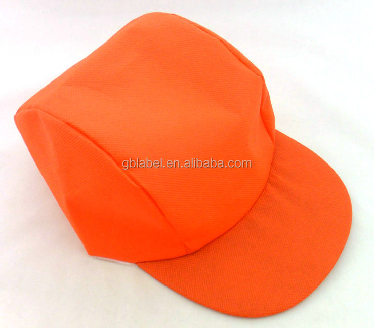 cheap wholesale high quality <strong>orange</strong> 3 panel non woven cap