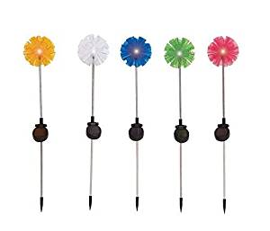 Benzara The Flowery Metal Solar Garden Stake, 5-Assorted Colour by Benzara Woodland Imports -- DROPSHIP