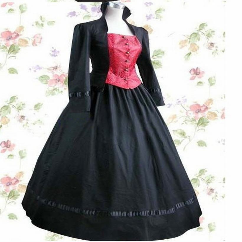 Get Quotations · Long Sleeve Floor-length Black Satin Cotton Aristocrat Gothic  Lolita Dress Old European Style Stand c6faa49fac79