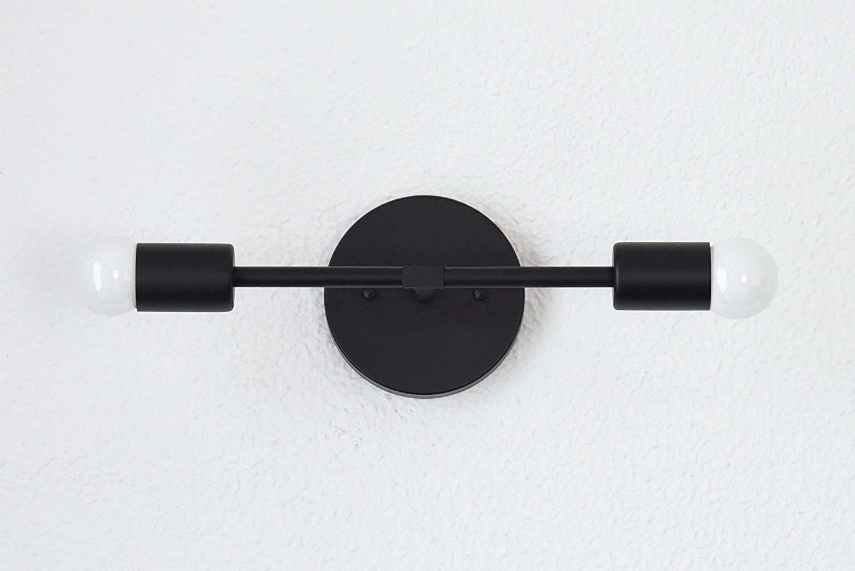 Handmade in U.S.A. Matte Black Mid Century Modern Two Light Mid Century Vanity Sconce