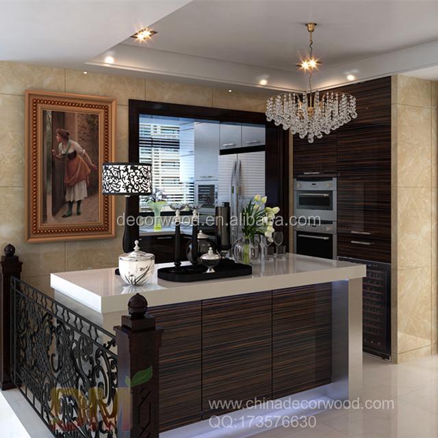Modern Wood Grain Kitchen: Modern Wood Grain Flat Pack Kitchen Cabinet