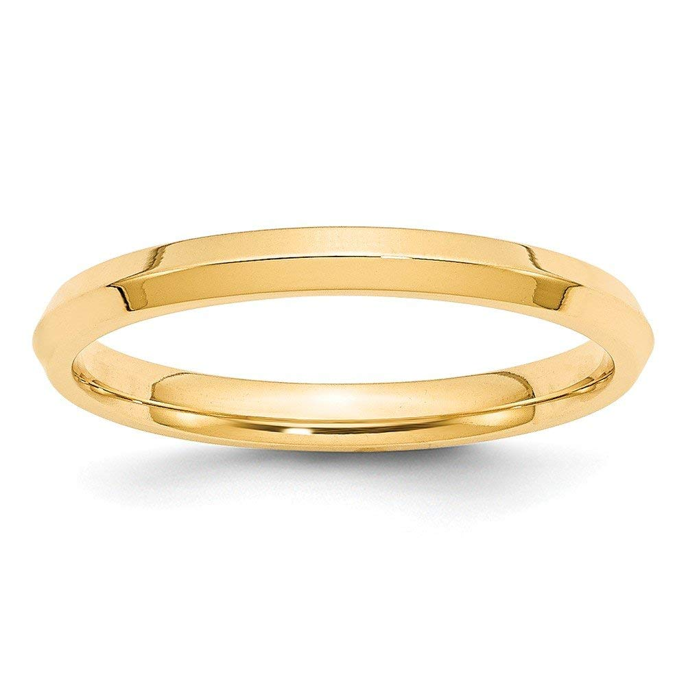 Perfect Jewelry Gift 14KW 4mm Bevel Edge Comfort Fit Band Size 6.5