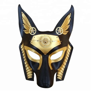 Roleparty New Design Custom OEM Steampunk PU Leather Egypt Anubis Mask