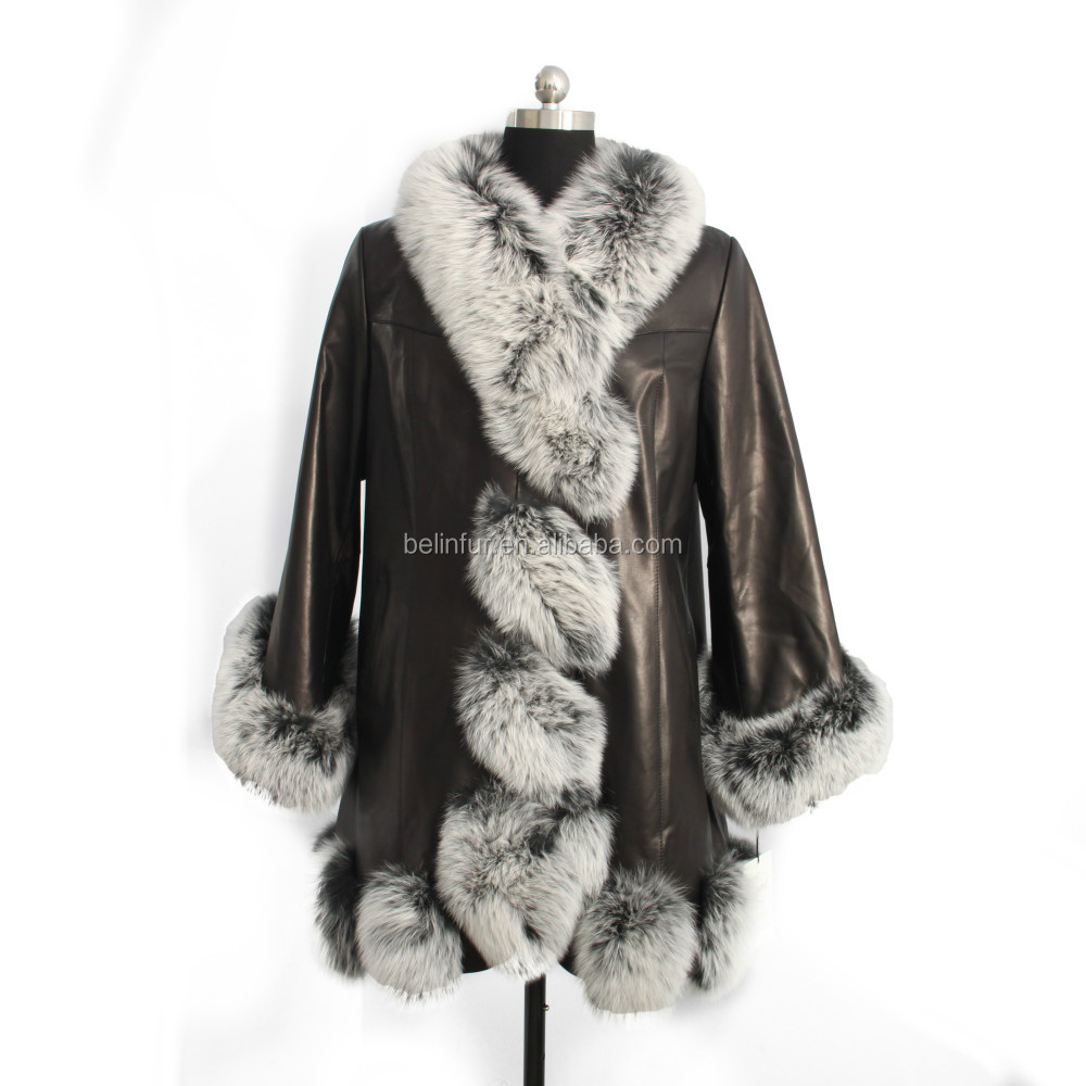 New arrival women real black leather coat with twist fox fur trim