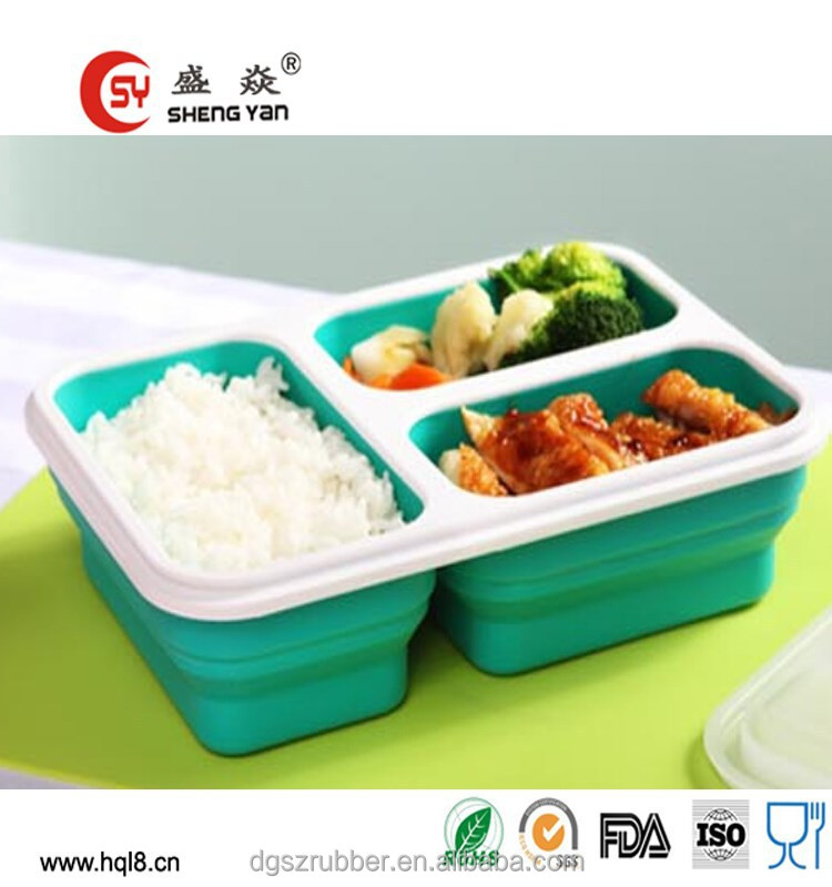 3 Compartments food grade collapsible kids silicone lunch box
