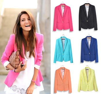 Fall/spring Women Fancy Coat Young Ladies Fashion Candy Color Suit ...