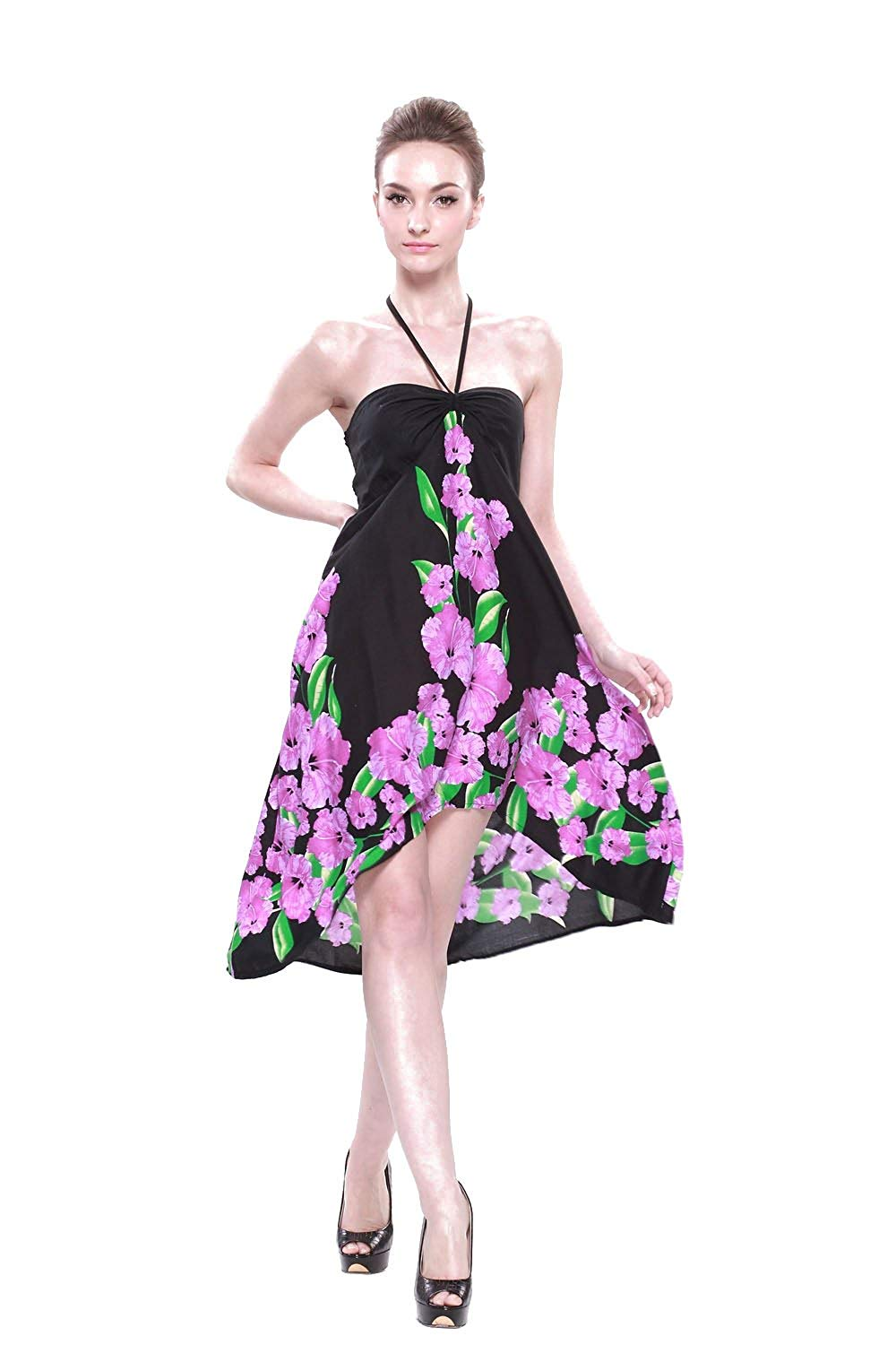 abea514e081e1 Get Quotations · LLJ Hawaii Women's Hawaiian Butterfly Dress in Black with  Purple Hibiscus Print
