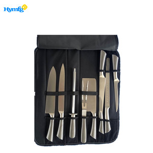 hollow handle sharp 9pcs stainless steel kitchen knife set with carry bag