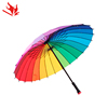 Multi-color umbrella with logo prints, Rainbow factory cheap promotion umbrella uv protection