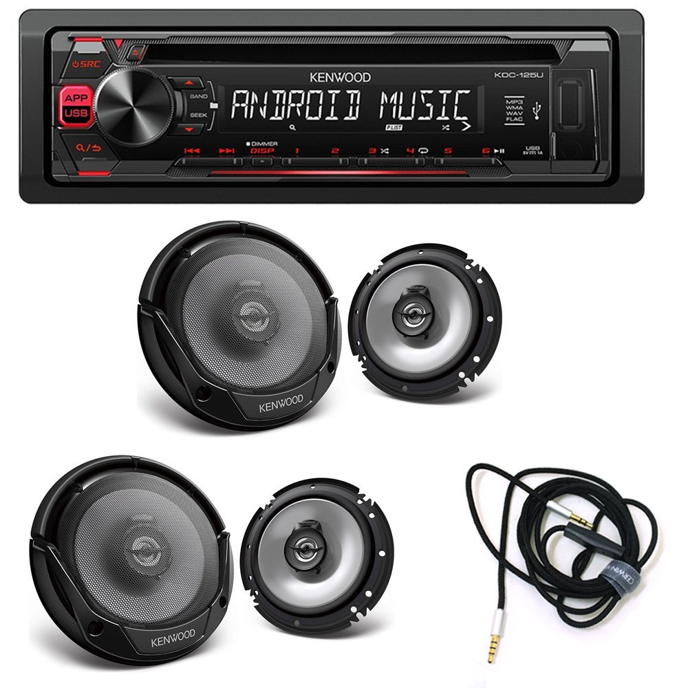 """Kenwood KDC-125U CD Receiver AM/FM + ( 2 PAIRS ) Kenwood KFC-1665S Sport Series 6-1/2"""" 2-way speakers + Audio Cable CVM2M6MIC 3.5mm hands-free audio cable with built in microphone, 6ft"""