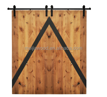 Rustic Style Mod Z Double Slat Sliding Bi Parting Wood Barn Doors Golden Maple Charcoal With