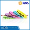 Never Give Up Silicone Wristbands, Glow-in-the-dark Silicone Rubber Bracelets