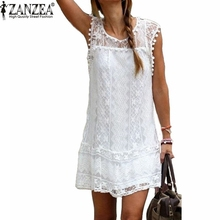2016 Sexy Womens Summer Casual Sleeveless Evening Party Beach Dress Short Lace Tassel Mini Dress Vestidos Plus Size New Arrival
