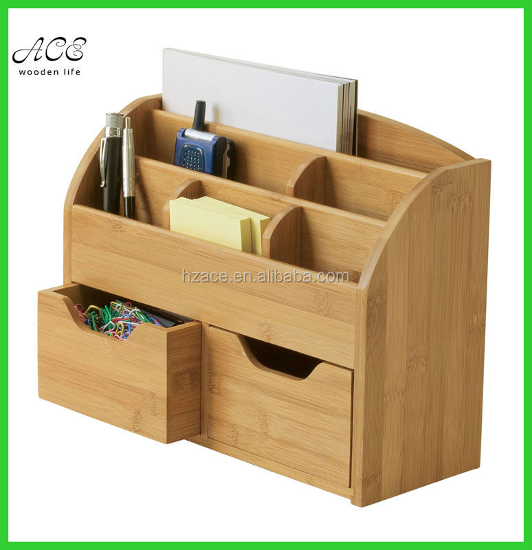 Desk Organizer Bamboo Office Table