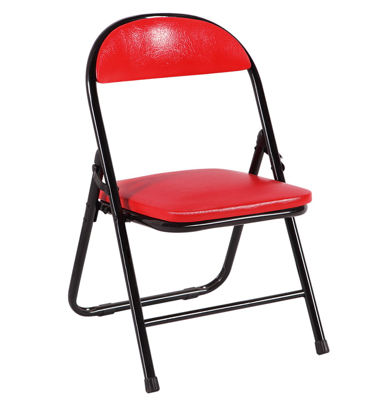 small mini cheap metal frame iron legs pu leather folding chairs