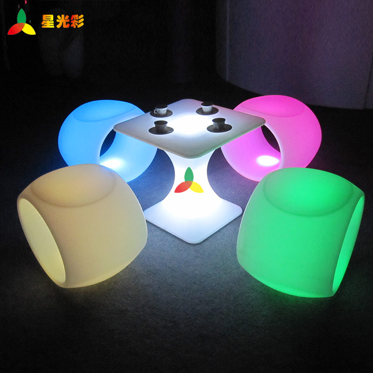 illuminated living room furniture rechargeable glow LED square coffee table for bar