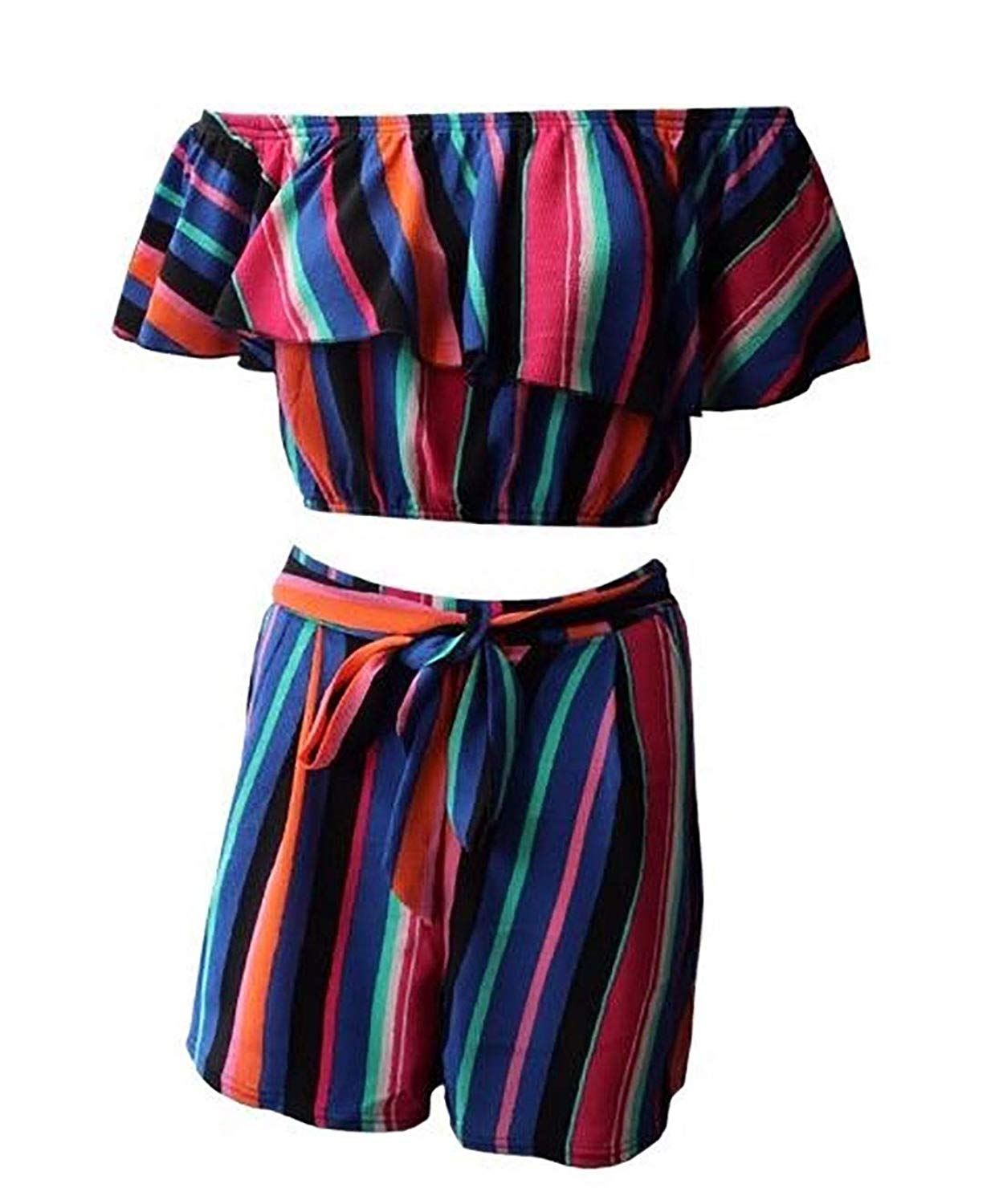7f11b0fad42ed Get Quotations · Womens Fancy Striped Printed Club Wear Frill Crop Top  Ladies Belted Sexy Shorts Set