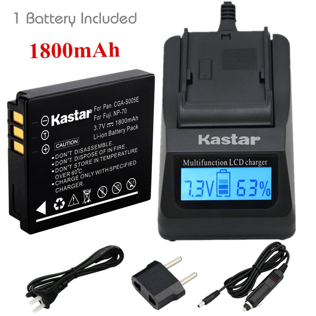 Kastar Ultra Fast Charger(3X faster) Kit and Battery (1-Pack) for Panasonic Lumix CGA-S005, CGA-S005A/1B, CGA-S005E, CGA-S005GK, DMW-BCC12 and DE-A12 work with Panasonic Lumix DMC-FS1, DMC-FS2, DMC-FS2, DMC-FX01, DMC-FX07, DMC-FX1, DMC-FX3, DMC-FX7, DMC-FX8, DMC-FX9, DMC-FX10(FX10GK), DMC-FX12,