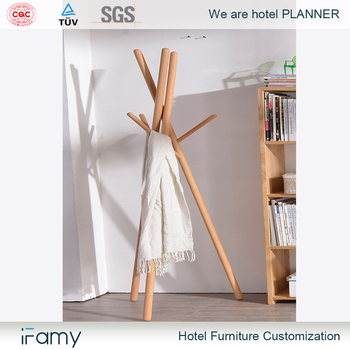Wood Coat Rack Clothes Hanging Stand For House Bedroom Furniture And Home Decor