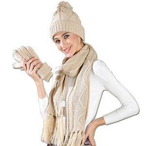 Custom winter knit slouchy scarf glove and hat set hats women
