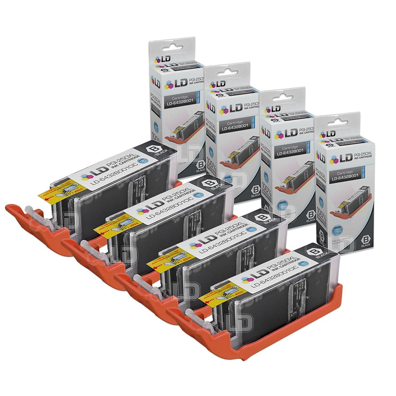 LD Compatible Canon PGI-250XL / 6432B001 Set of 4 High Yield Pigment Black Inkjet Cartridges for PIXMA MX922, MG5420, MG6320, MX722, IP7220, MG5422, MG7120, MG5520, MG6420 Printers