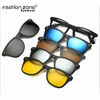 TR90 Polarized 6 in 1 magnetic mirrored sunglasses clip on lens glasses frame