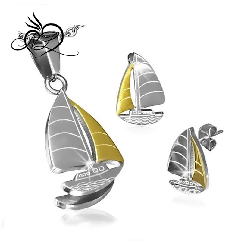 Stainless Steel 2-tone Sailing Boat Charm Pendant & Stud Earrings Set