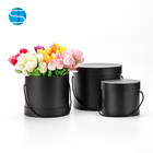 Hot Sale Cylinder Florist Portable Box Black Round Flower Hat Box Flower Gift Box 3PCS SETS
