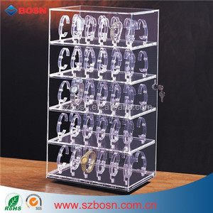 60 New Watch Display Case Revolving lockable Acrylic Watch Display Stand Holds 60 Watches