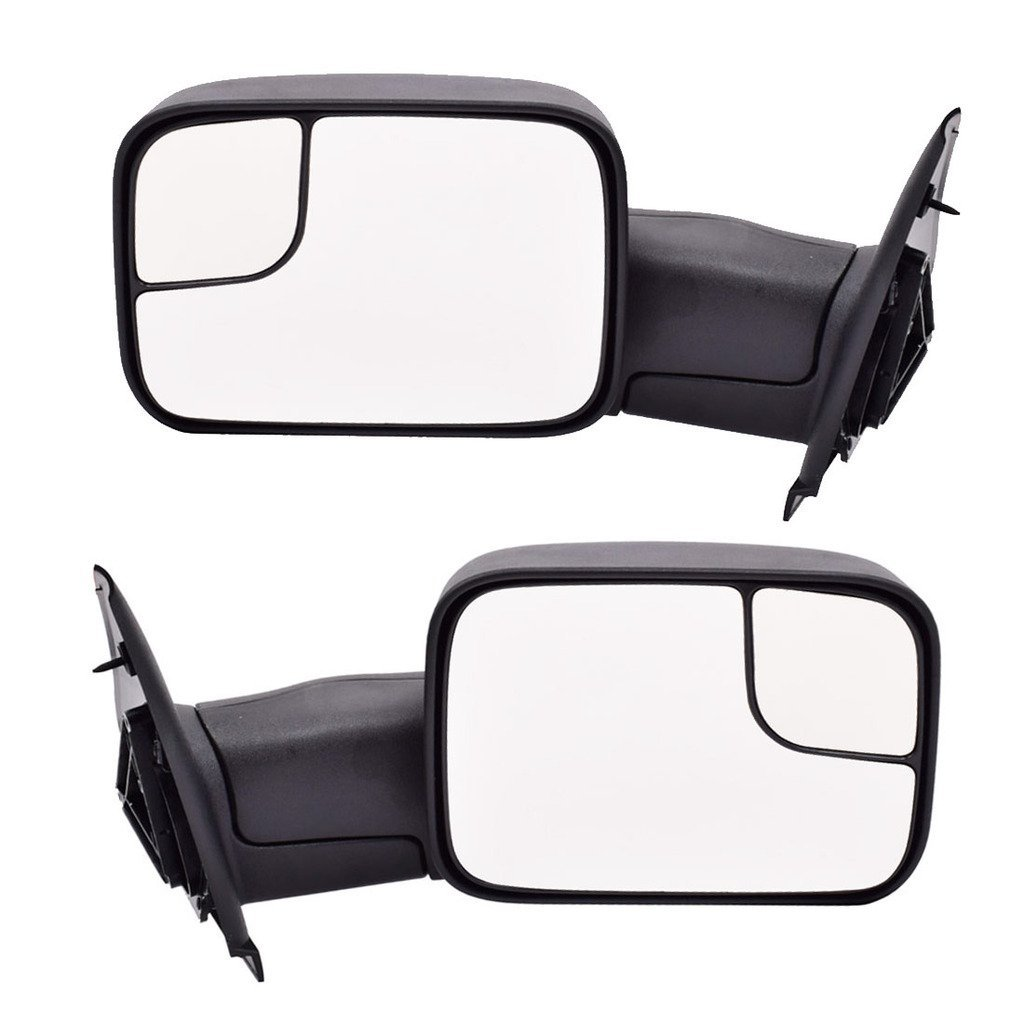 DEDC Dodge Towing Mirrors Dodge Ram Tow Mirrors Pair Manual Function Folding For 2002-2008 Dodge Ram 1500 2003-2009 Dodge Ram 2500 3500