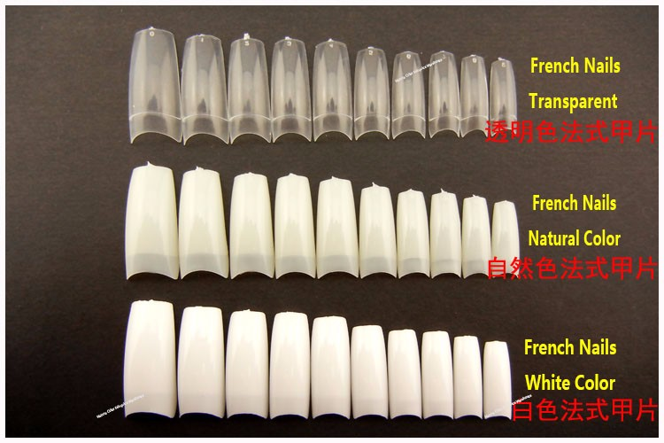 100pcs False Nails with Glue & Case Set French Clear Acrilic Artificial Fake Half Full Cover White Natural Transparent Skin Tips