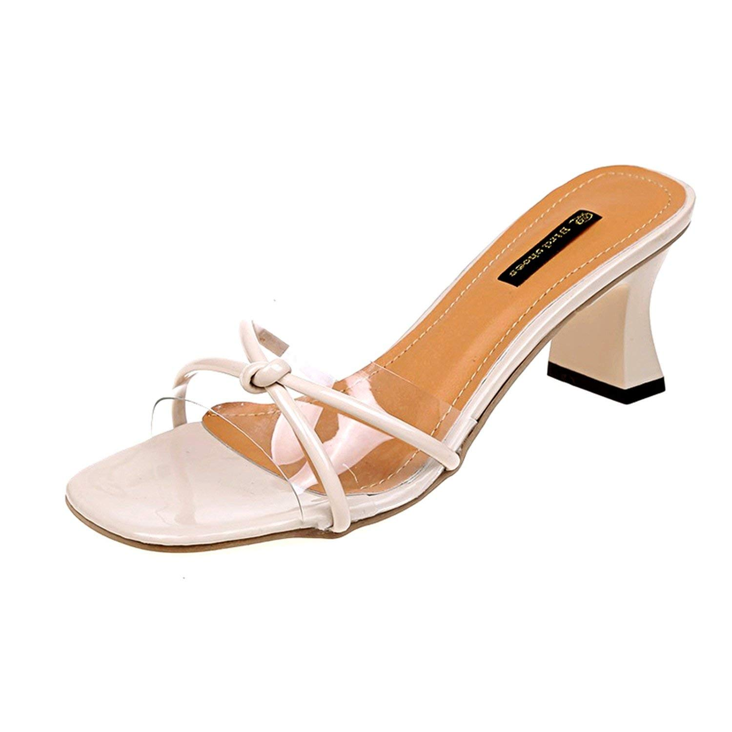 ee0c4067926 Get Quotations · Summer-lavender-mules-shoes Transparent Thin Heel Slipper  Women Sexy Black Thick Bottom