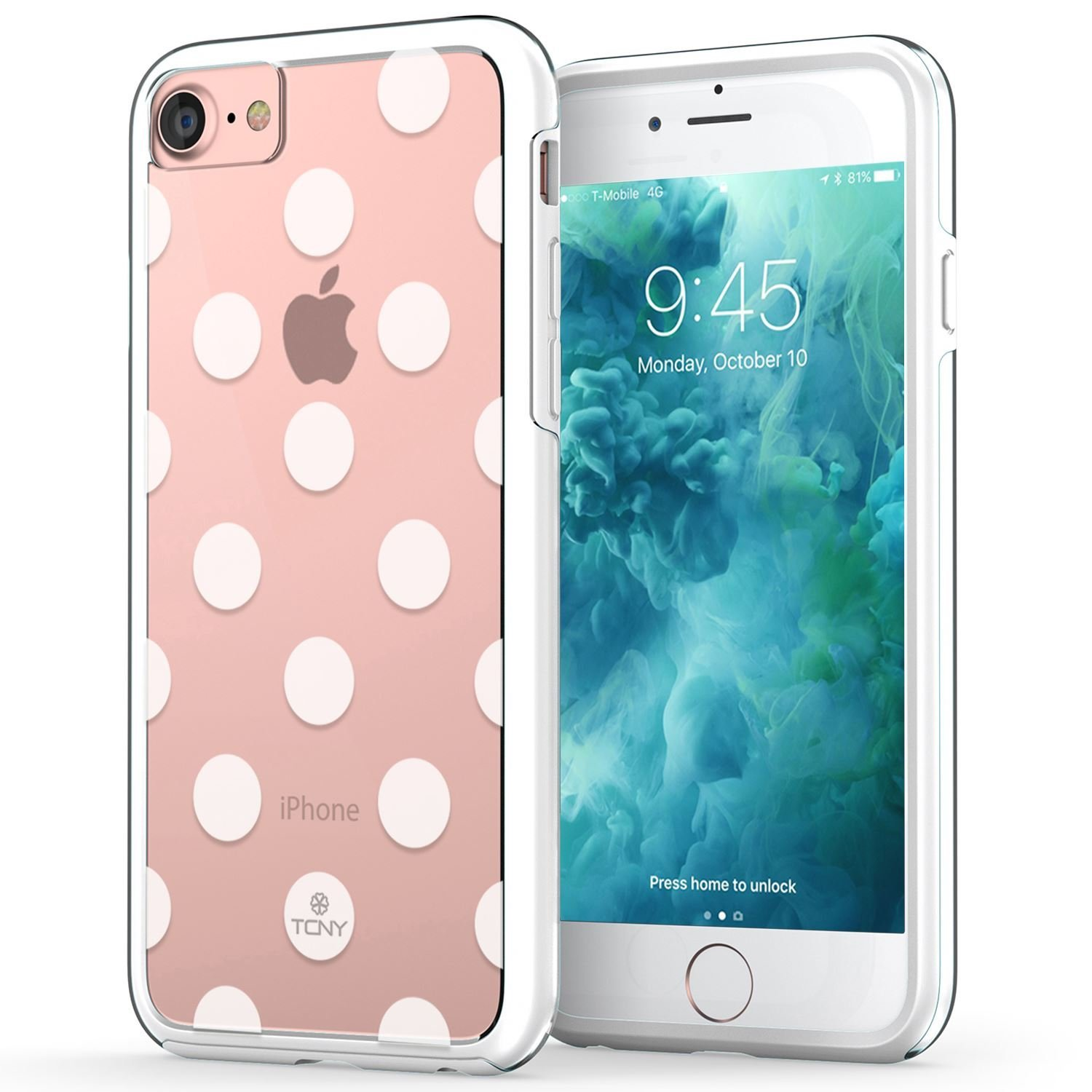 iPhone 7 Dots Case, True Color Medium Polka Dot Printed on Clear Transparent Hybrid Cover Hard + Soft Slim Thin Durable Protective Shockproof TPU Bumper Cover - White