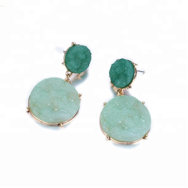 Natural Agate Green Quartz Gemstone Textured <strong>Gold</strong> Plated <strong>Hook</strong> Dangling <strong>Earrings</strong> Jewelry