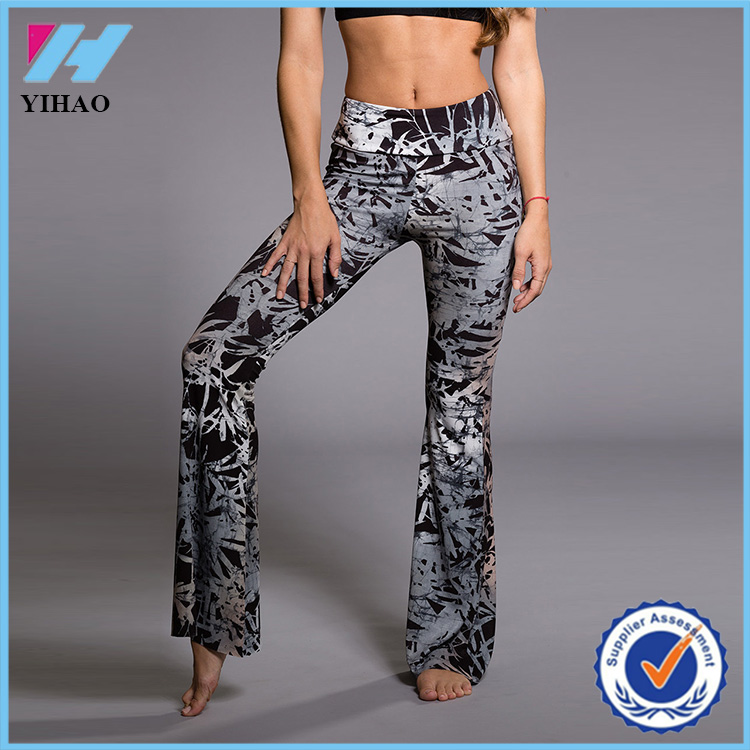 2016 Yihao Women's Fashion Custom Gym Apparel Printed Flared Bell bottom Dance Wear Leggings Pants