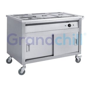 3 * GN 1/1 Stainless Steel Electric Bain Marie Food Warmer with Cabinet